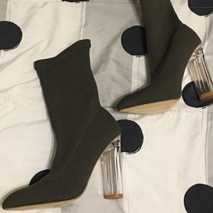 Shoes - Olive green sock style Booties lucite chunky heels